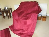Dunelm Thermal lined Red Eyelet Curtains each measures 90in wide x 72in long
