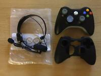 Xbox 360 control pad, skin and headset (Unused)