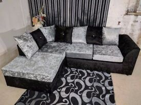 🔴🔵SAME DAY DELIVERY 🔴🔵⚫ Brand New Crush Velvet Corner Sofa or 3 and 2 Sofa IN BLACK AND SILVER