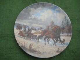Sleigh Ride Winter Scene Decorated Wall Plate for £5.00
