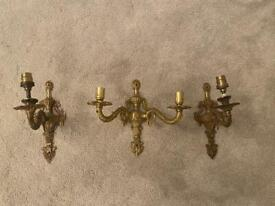 Antique brass candle wall lights