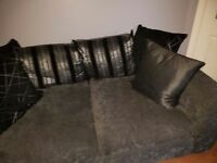 2 piece and 3 piece settee - grey, silver, black scatter cushion