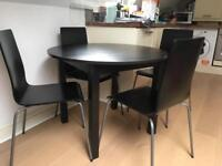 IKEA Round black table + 4 chairs