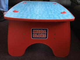 Wooden mega blocks table and two trays of blocks