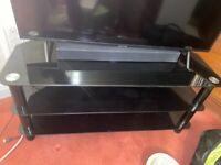 Black glass corner tv stand unit