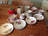 Bone china saucers & job lot of other china