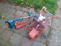 FLYMO GARDEN ALLOTMENT ROTAVATOR AND BLACK AND DECKER STRIMER BOTH WORK GARAGE CLEAR OUT