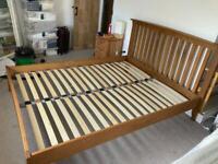 Solid oak king size bed frame