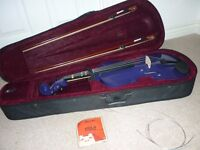 "Purple 16"" viola, case, spare strings, bridge, 2 bows and a padded shoulder rest."