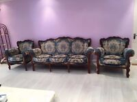 4 PIECE SOFA SET VERY GOOD CONDITION 1 x 3 SEATER 1 x 2 SEATER & 2 ARM CHAIRS