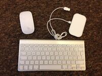 Apple magic wireless keyboard, mouse and charge plate. Bluetooth.