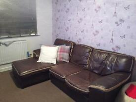 Brown Leather Sofa £40.00