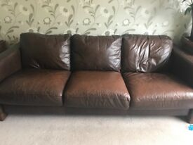 3 seat brown leather sofa and matching armchair