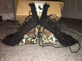 Request more. Zara black and snake skin sexy heels/wedges with laces