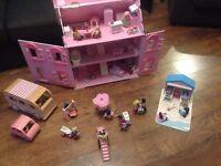 ELC Rosebud cottage wooden dolls house, dolls, room sets and vehicles