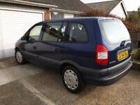 Vauxhall Zafira life, 1.6L petrol, 7 seater, blue, NEW MOT - due September 2018, good condition
