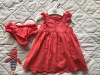 M&S Baby coral summer Dress, 3-6 months