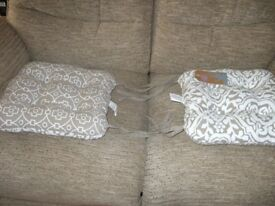 Set of 4 Seat Pads with ties: 16 inches sq. [40cm] Ethnic reverse print, white/brown; 6 wks. old VGC