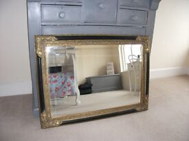 Antique Gold and Black Ornate Large Mirror