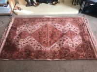 Vintage Rug Viscose/25% Cotten Fibres Red with 3 Diamonds with Fringe 59in/150cm x 37in/94cm R78