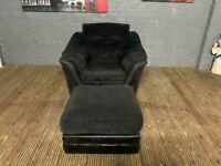DESIGNER BLACK CORD FABRIC & HALF LEATHER ARMCHAIR AND FOOTSTOOL