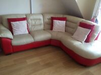 Cream and red leather corner sofa and reclining chair and storage footstool