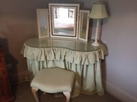 Kidney Dressing Table, Queen Anne Stool and Dressing Table Mirror