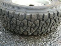 Yokohama 13 inch forest gravel Knobbly tyres on mk2 escort rims.