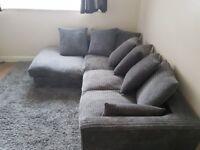 Porto Jumbo Cord Corner Sofa, Settee, Full Chenille Cord Fabric in Grey (Grey Right)