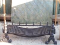 3 Feet long antique fire grate with and irons +8x4 wood for masntle