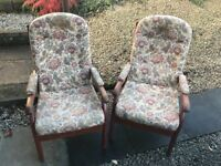 2 x comfy armchairs solid wood and sprung seats, great upcycling project!