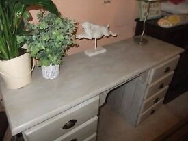 desk with 8 drawers pale grey