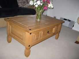Wooden pine coffee table with single draw.