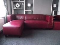 Faux Leather corner sofa with matching chair