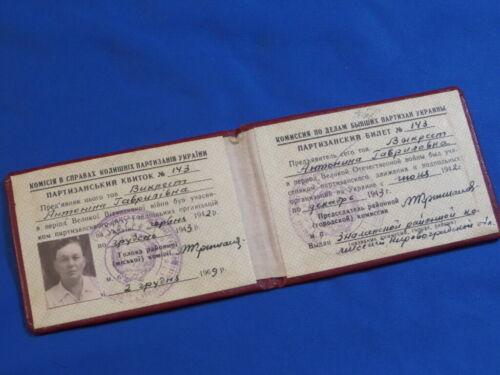 Soviet russian ID document Soviet partisan 1942-43 woman USSR WW2 certificate