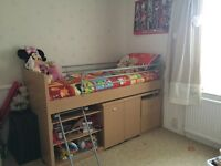 Single cabin bed with pull out desk and storage