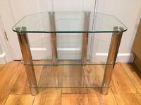 TV table - glass & chrome, corner unit