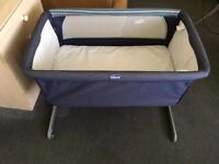 Chicco next2me Crib in denim- immaculate condition. Mattress never slept on