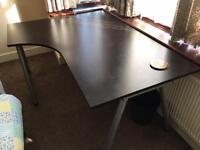 Ikea Galant corner desk - black adjustable legs