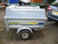 5-0 X 3-6 DROPTAIL TRAILER WITH FIBREGLASS TOP & ROOFBARS.....