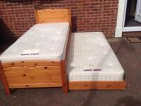 3' W Solid Pine Trundle Bed with Mattresses