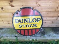 Dunlop stock enamel sign