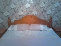 king size bed, wooden slats ( NO MATTRESS )