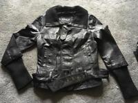 Ladies biker style faux leather waist jacket size 36s /8 black used v,good condition £10