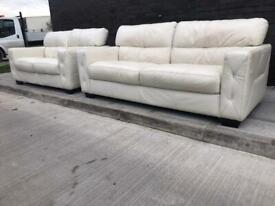 Coral white leather 3&2 modern sofas can deliver locally 😁👍🏻🚛