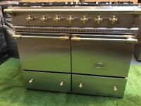 Lovely Lacanche Range cooker Double Oven Stainless Steel and brass appliance