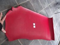 """Large Piece Vintage Red Leatherette? (40+ Years) - Approx 36"""" x 16"""" -Piece No. 3 - Viewing Welcome"""