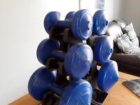 Set of dumbells, 1.1kg, 2.3kg 4.5kg..