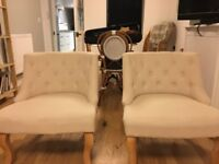 Two cream chairs / French tub chairs / dunelm Antoinette chairs