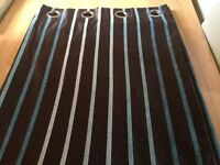 """Brown striped ring top curtains 66"""" wide X 54 drop"""